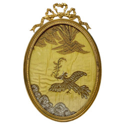 Antique French Louis XV Style Bronze D'oré Oval Picture Frame #2, Circa 1890.