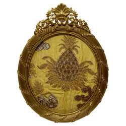 Antique French Louis XV Style Bronze D'ore Oval Picture Frame, Circa 1890