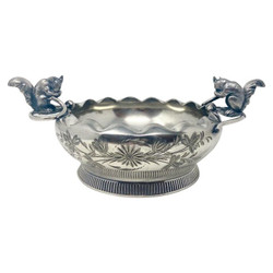 """Antique American Silver-Plated Nut Dish Signed """"W.M. Rogers Company, Hartford Connecticut,"""" Circa 1870.  Nice Size and in a Lovely Squirrel Motif."""