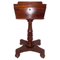 Antique English Victorian Mahogany Teapoy, Circa 1880-1890.