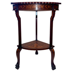 Unusual Antique Dutch Marquetry Fan Shape Side / Corner Table with Exquisite Inlay, Circa 1870-1880.  New Red Velvet Interior.