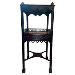 Antique English Mahogany Two-Tier Chippendale Tea Table with Intricate Fretwork, Circa 1880.
