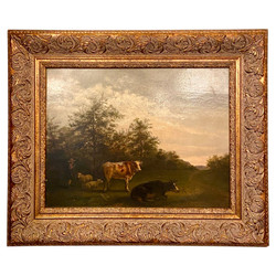 """Antique Dutch Oil On Mahogany Panel Landscape Painting, """"Shepherd with His Cows and Sheep,"""" Circa 1880's.  Indistinctly Signed."""