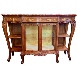 Antique French Rouge Marble-Top Walnut Buffet With Glass Doors, Circa 1890-1910.