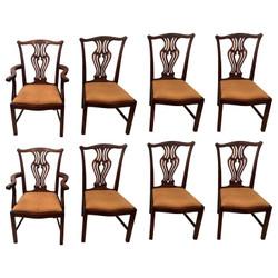 Set of 8 Antique English Mahogany Dining Chairs, Circa 1910-1920.