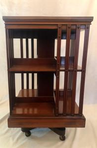 Antique English Revolving Bookcase Mahogany C. 1870-1880