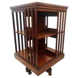 Antique English Mahogany Revolving Bookcase Stand, Circa 1870-1880