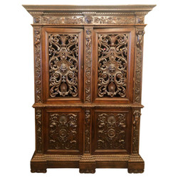 Antique French Louis Philippe Intricately Carved Walnut Armoire, Circa 1870s