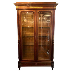 Antique French Louis XVI Style Two Door Beveled Glass Display Cabinet with Interior Glass Shelves, Circa 1870-1880.
