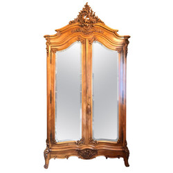 Antique French Louis XV Styled Carved Walnut 2 Door Armoire with Beveled Mirrors, Circa 1880-1890.
