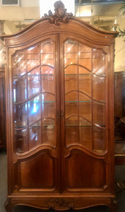 Antique French Louis XV Style Two Door Display Cabinet Circa 1880's