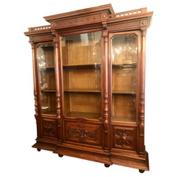 Antique French Louis Philippe Carved Walnut 3-Door Display Bookcase, Circa 1880-1890.