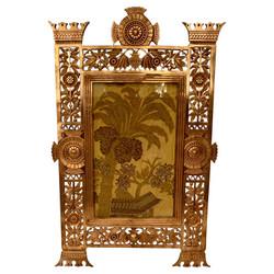 "Rare Antique American Art Deco Gold Bronze Hanging Picture Frame, Circa 1920-1930.  Fits 5"" x 8"" Photo"