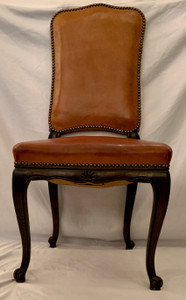 Set Of 6 Antique Leather Dining Chairs Circa 1890-1910