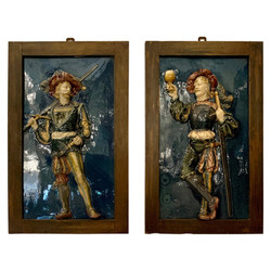 Rare Large Pair Antique French Majolica Porcelain Tile High Relief Wall Plaques of Louis XIV Musketeers, Circa 1900-1910.
