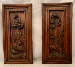 Pair Of French Carved Walnut Plaques Circa 1890-1900.