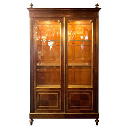 Antique French Bronze D' Ore Mounted Mahogany Display Cabinet, Circa 1880.