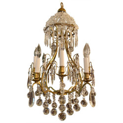 Antique 19th Century French Gold Bronze and Baccarat Crystal Chandelier.