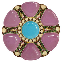 """Rare Early Antique English Hand-Painted Minton Majolica Porcelain Oyster Plate Signed """"Mintons"""" (with an s) in a Vivid Pink Color with Blue and Green detail, Circa 1875."""