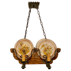 Hand-Made Wrought Iron and Carved Wood Porcelain Plate-Holder Chandelier.