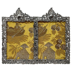 """Antique American Fine Silver-Plated Double Picture Frame, Signed by """"Derby Silver Co."""" of Connecticut, Circa 1890."""