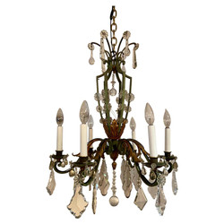 Antique French Iron and Tole Crystal Chandelier, Circa 1920's.