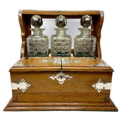 Antique English Sheffield Silver-Plate Mounted Golden Oak Games Box Tantalus, Circa 1880.