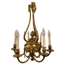 Antique French Gold Bronze Louis XVI Style Chandelier Mounted with Figural Ram's Heads, Circa 1870's.