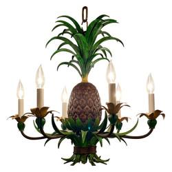 Original Hand-Made Tole Pineapple Chandelier.