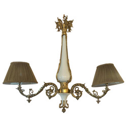 """Estate French Gold Bronze and Opaline Glass """"Gasolier"""" Light Fixture, Circa 1930's."""