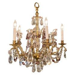 Antique French Gold Bronze & Clear and Purple Baccarat Crystal Chandelier, Circa 1890.