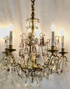 Antique French Bronze and Baccarat Crystal Chandelier, Ca. 1890