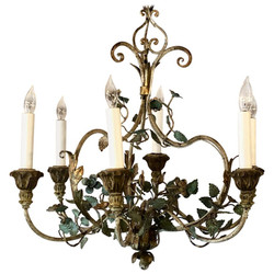 Estate Italian Hand-Painted Iron and Tole Chandelier, Circa 1950-1960.