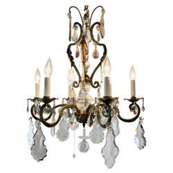 Estate French Clear & Multi-Colored Crystal and Wrought Iron Chandelier, Circa 1920s
