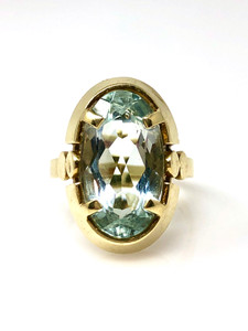 Antique American Art Deco Aquamarine and Diamond 14 Karat Gold Ring