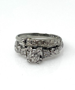 Antique 18 Karat White Gold Euro-cut .754 Wedding Ring Set