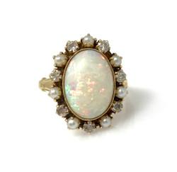 Antique Opal and Diamond Pearl 14 Karat Ring