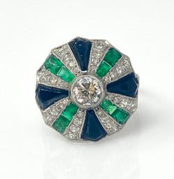 Antique Art Deco Sapphire Diamond Emerald Ring