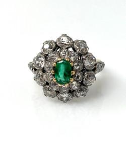 Antique Emerald Eurocut Diamond Ring