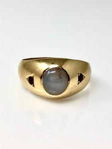 Antique 14 Karat Moonstone and Garnet Ring