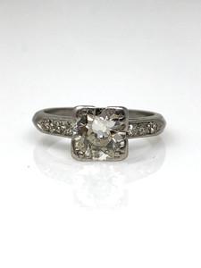 Antique 1 Carat Diamond Euro Cut Platinum Ring
