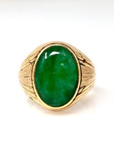 Estate Jade 14 Karat Gold Ring