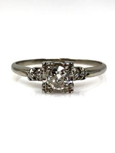 Estate 14 Karat White Gold Euro Cut 1/2 Carat Art Deco Diamond Ring