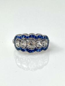 Estate Diamond Sapphire 14 Karat Ring