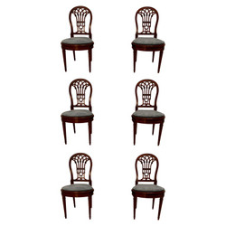 Set Of 6 Antique English Mahogany & Cane Dining Chairs with Newly Upholstered Blue Seat Cushions, Circa 1890.