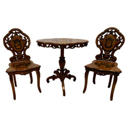 Antique German Black Forest Wood-Carved Hunt Table & 2 Chairs, Circa 1880-1890.  Intricate Carving and Inlay with Forest Scenes.