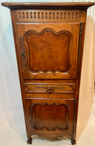 Estate French Carved Walnut Bonnetiere, Ca. 1920-1930