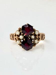 Antique Garnet and Pearl 14 Karat Gold Ring