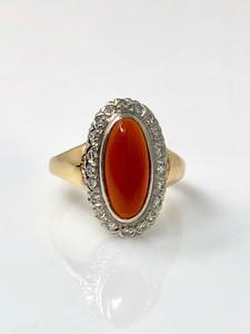 Antique Carnelian Diamond 14 Karat Gold Ring