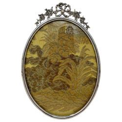 """Antique American Silver on Bronze Bow and Floral Oval Picture Frame Hallmarked """"Royal M Mfg. Co."""" of Detroit, Michigan, Circa 1900's.  Delicate Tracing on the Bow and Flowers."""